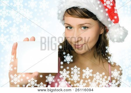 young beauty woman in red hat with white blank on white background