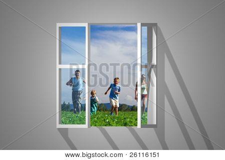 view on window family run on field
