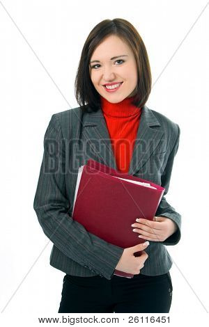 young woman with folder documents on white background