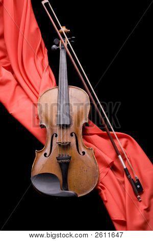 Violin On Scarlet Silk