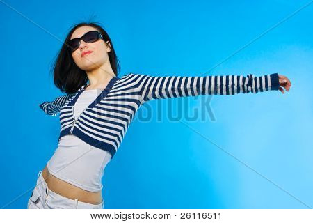 pretty young woman on white background