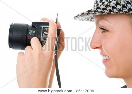 woman photographer on white background