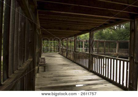 Covered Wooden Walkway In Zen Garden