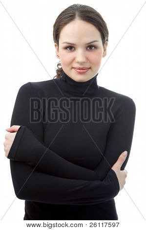 young woman portrait in black on white background
