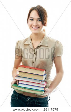 woman with books on white background