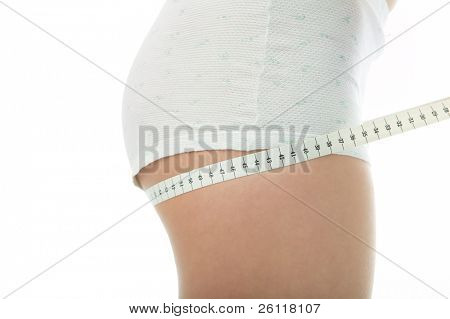woman measure ass om white background