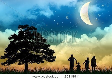 family walk field with tree moon night