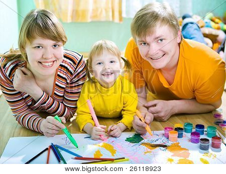 family mather father and child draw