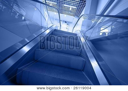 escalator stairs in blue tone