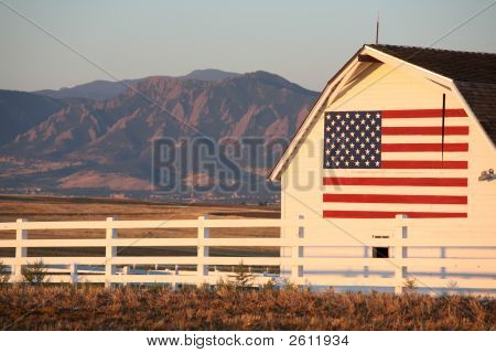U.S. Flag White Barn