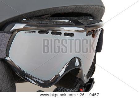 Black skier helmet with goggle