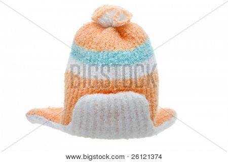 child winter clothes cap isolated over white background
