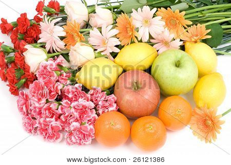 Bouquet and fruits