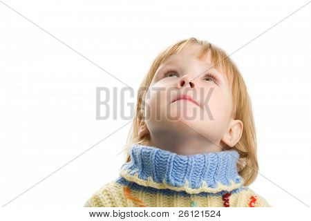 little girl in warm sweater on white background