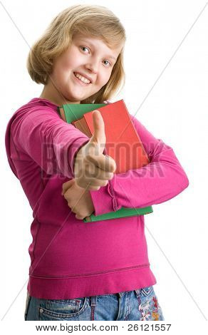 Young schoolgirl with books on white background