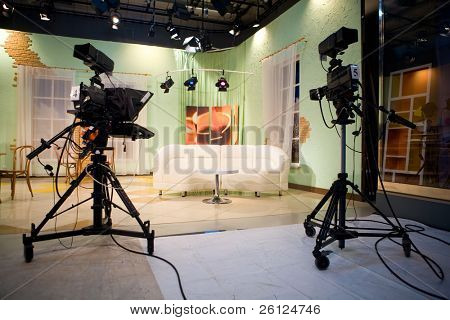 tv studio with interior and light
