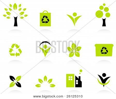 Ecology, Nature And Environment Icons Set Isolated On White..