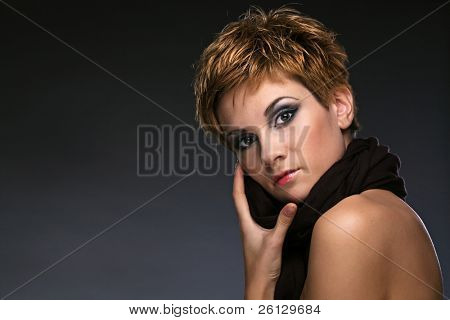 beauty woman on gray background
