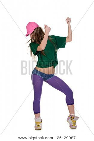 cool dancer woman over white background