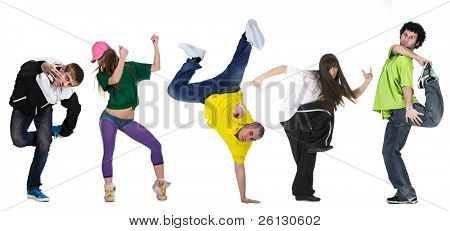 bailarín del grupo aislado sobre fondo blanco
