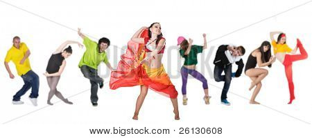 group dancer with leader isolated over white background
