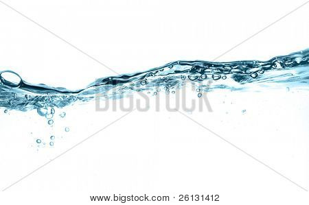 water splash and water bubbles in blue