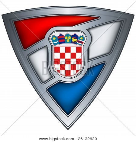Steel shield with flag Croatia