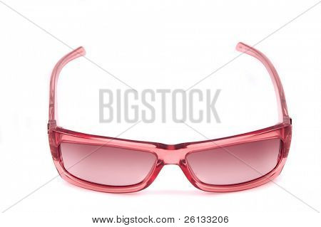 A pair of ladies rose-colored glasses isolated on a white background