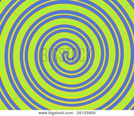 schwindelerregende Spirale Zeilen in blau, hellgrün, gelb