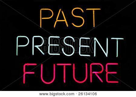 Muestra de pasado, presente, futuro neón negro