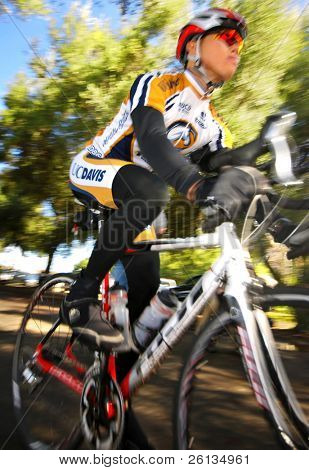 DAVIS, CA - February 7, 2009: University of California - Davis cycling team member Zhicheng Zheng racing