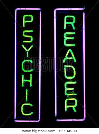 Green and purple psychic neon sign