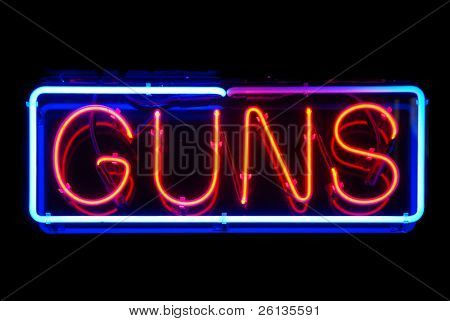 Guns neon sign isolated on black background