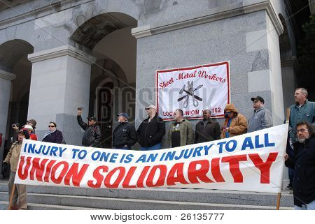 SACRAMENTO, CALIFORNIA - FEBRUARY 26: Members of Sheet Metal Workers Union protest at a rally held at the California State Capitol on February 26, 2011 in Sacramento, California