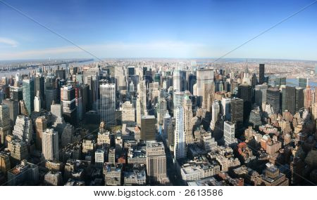 Aerial Panoramic View Over Manhattan, New York