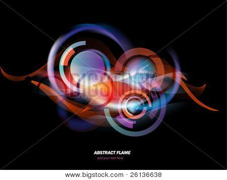 Stunning light and fire flames mixed with geometrical elements background