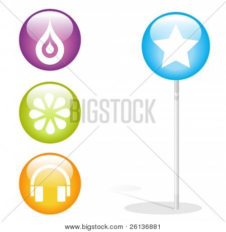 lollipop and glossy icons