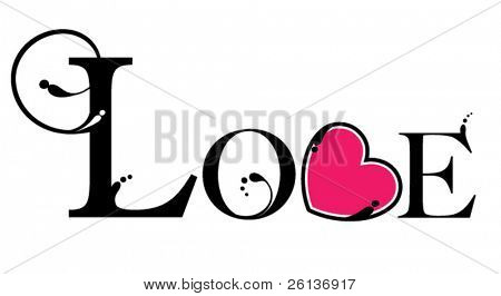 Decoratieve 'LOVE' illustratie