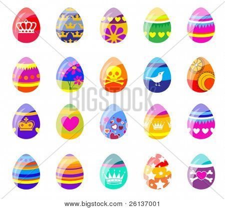 Easter - Large Set of Bright Eggs