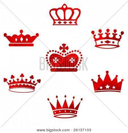 Conjunto de coronas reales rojos