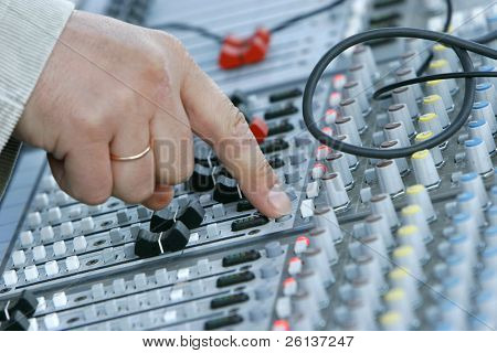 close up of sound mixer