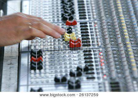 close up of sound mixer