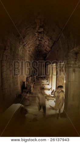 scared children running in old corridor