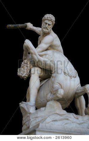 Sculpture Signoria Public Square Florence Italy On Black