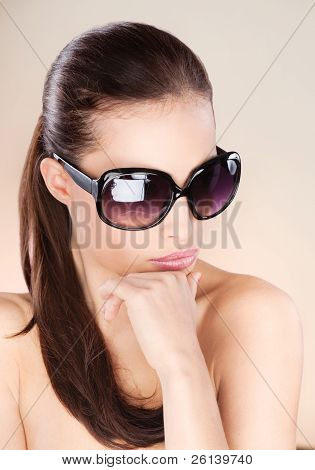 Pretty Woman With Big Sun Glasses