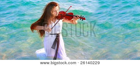 young beautiful woman playing violin in water