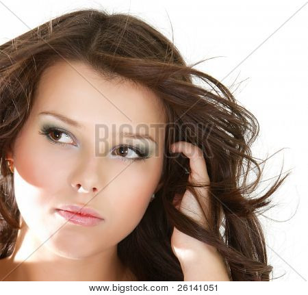 close up portrait of beautiful upset woman over white
