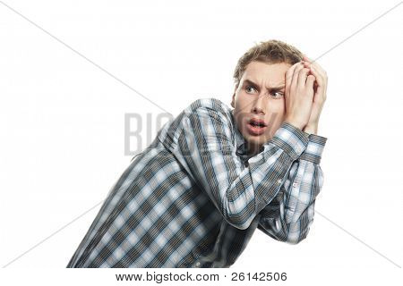 scared young man isolated over white