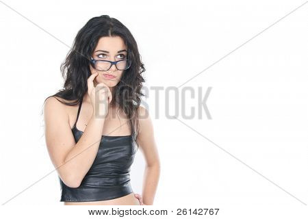 young woman thinking over white
