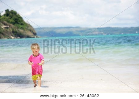 cute child on sea background